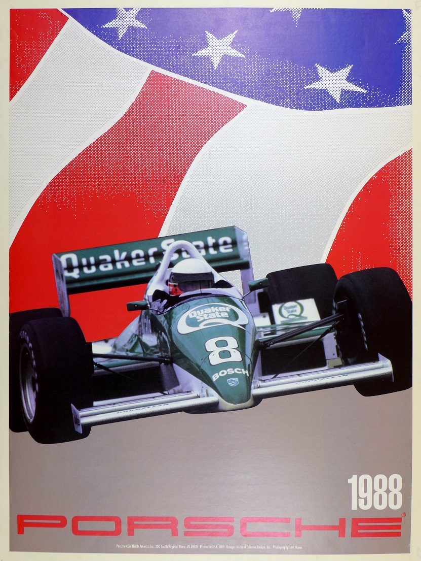 Flag, Indy, 1988, Porsche racing poster
