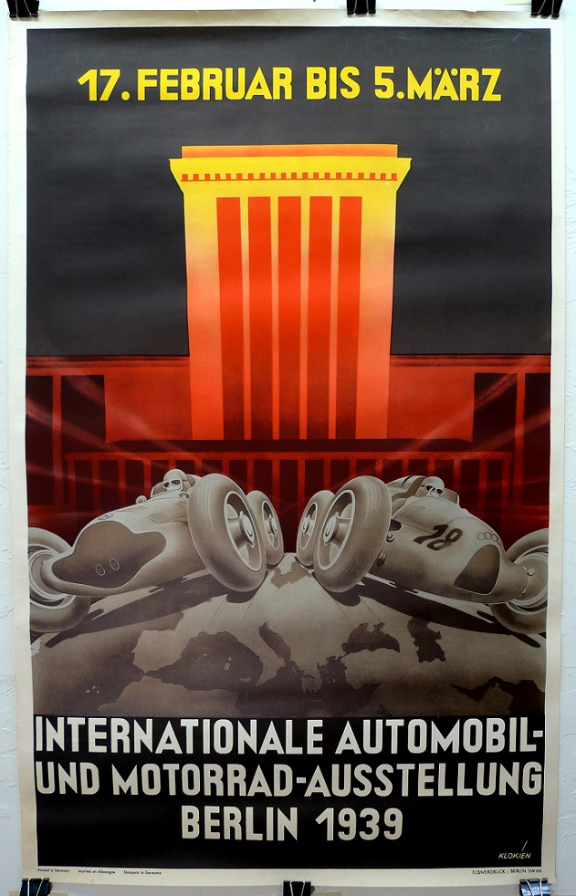 1939 Berlin Auto Show original vintage advertising poster