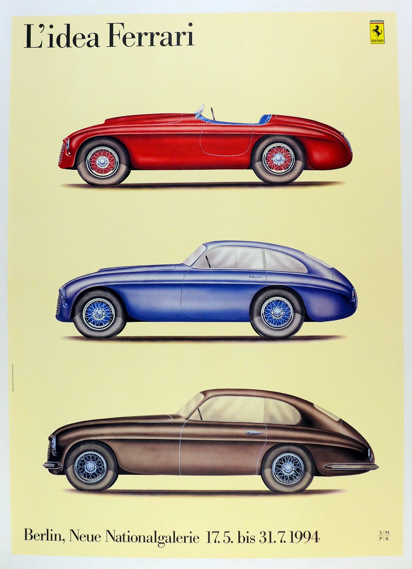 L'Idea Ferrari original vintage auto exhibition poster