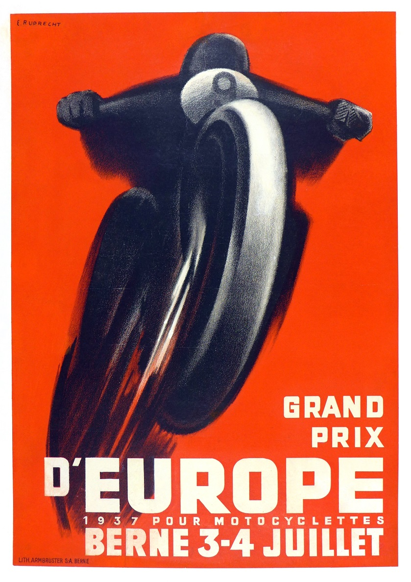 Grand Prix d'Europe 1937 original vintage motorcycle race event poster Ruprecht