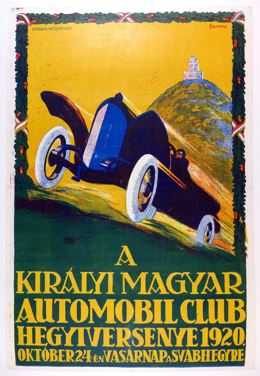 Magyar Automobile Club, 1920, original vintage event poster; art by Foldes