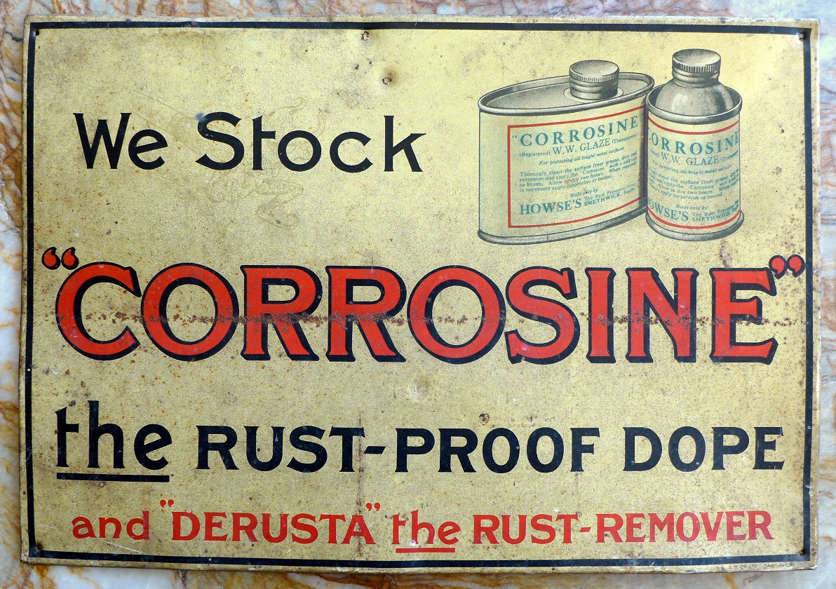 Corrosine original vintage tin sign