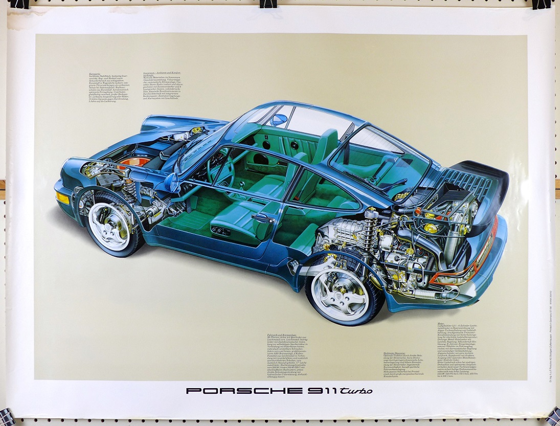 911 Turbo Euro spec Porsche Factory original vintage showroom poster