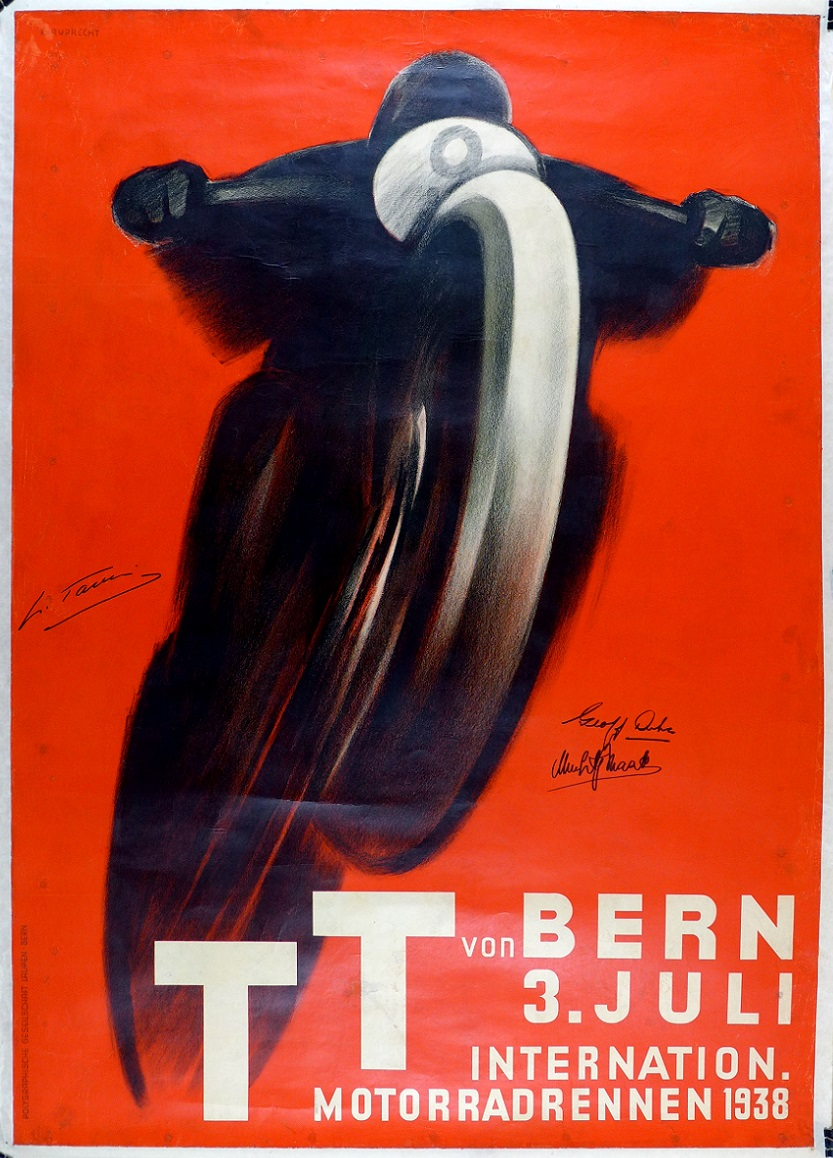 TT Bern 1938 original vintage motorcycle race event poster Ruprecht signed by world champiions