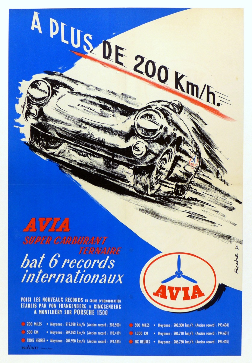 AVIA 6 International Records original vintage commemorative poster Porsche 550 Spyder