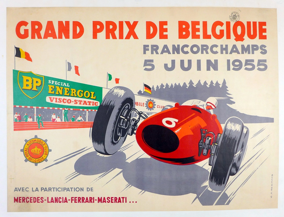 Grand Prix Belgium, 1955.  Original vintage race event poster