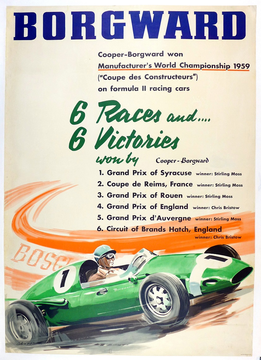 Borgward World Championship 1959 Formula 2 original vintage auto racing commemorative poster Stirling Moss