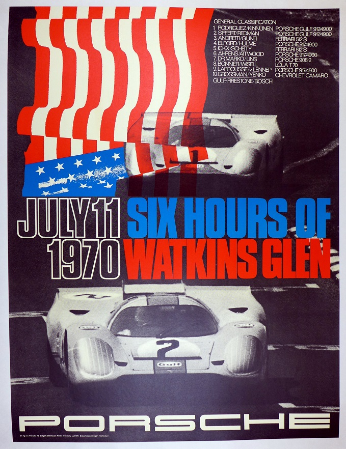 1970 Watkins Glen 6 hours original vintage Porsche commemorative race poster 917