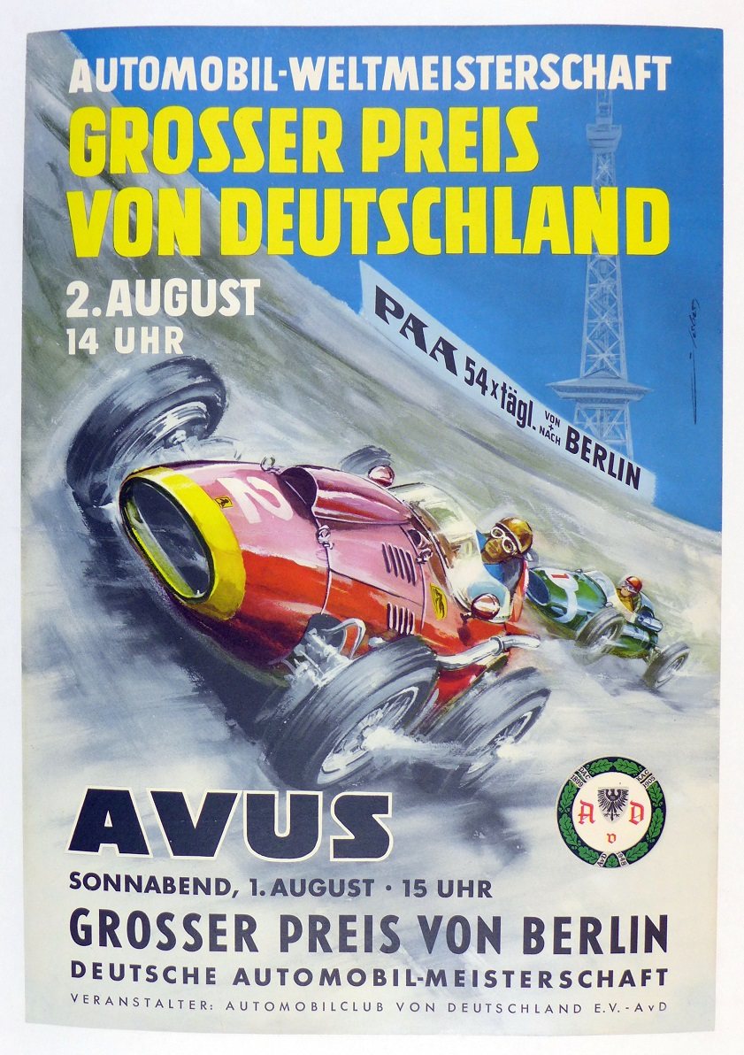 Grand Prix of Germany Avus original vintage auto race poster