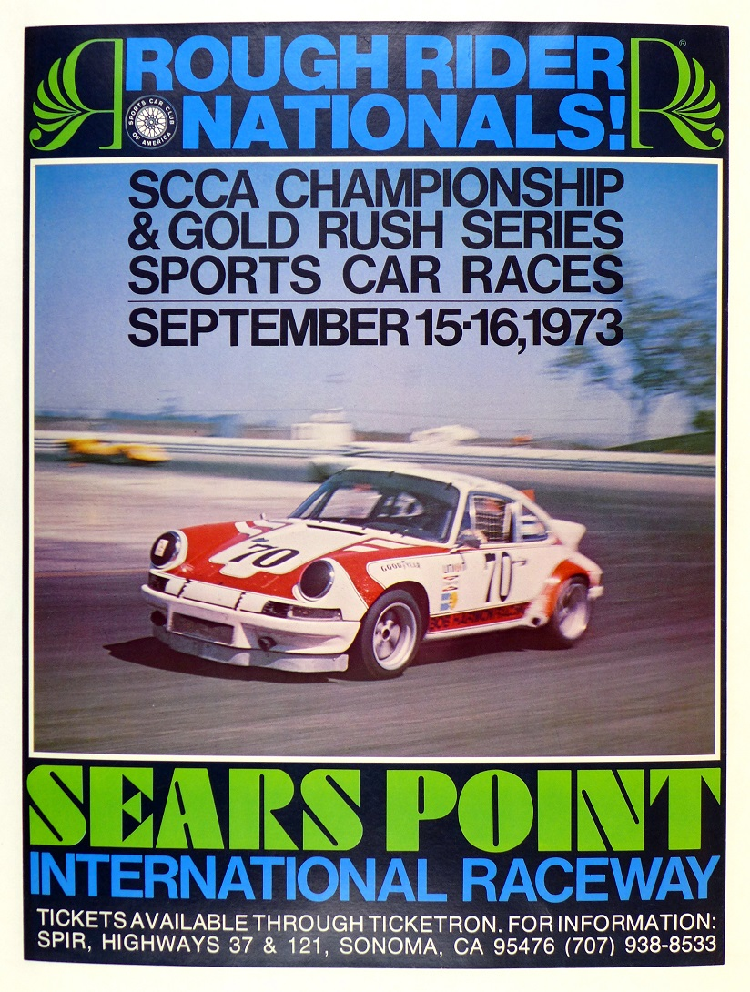 Sears Point 1973 original vintage auto race event poster Porsche Carrera RS