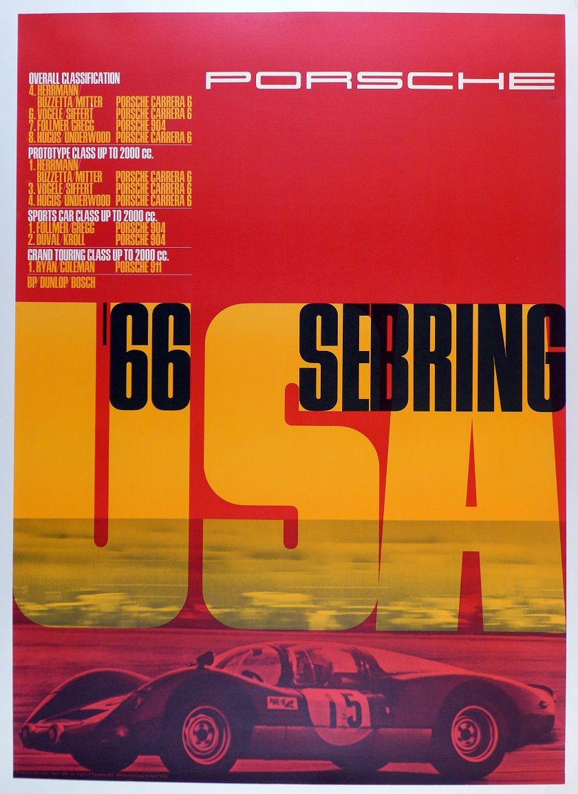 Sebring 12 hours 1966 original vintage Porsche Factory race commemorative poster 906