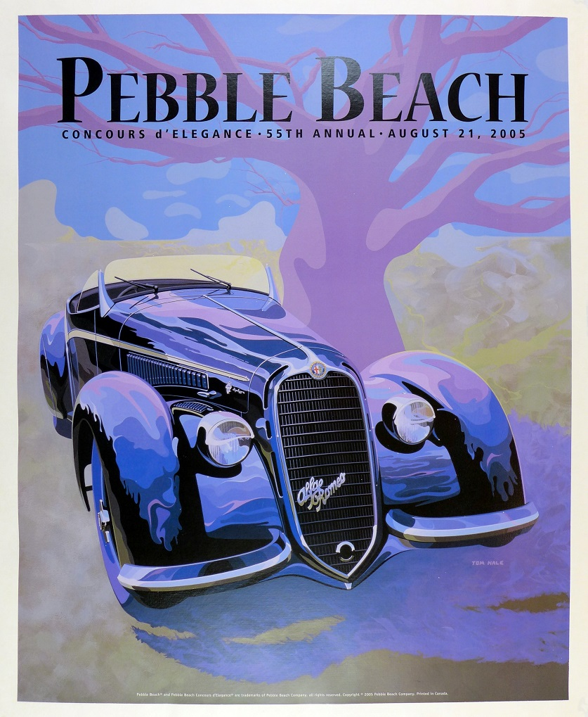 Pebble Beach 2005 original vintage auto event poster Alfa 8C Tom Hale