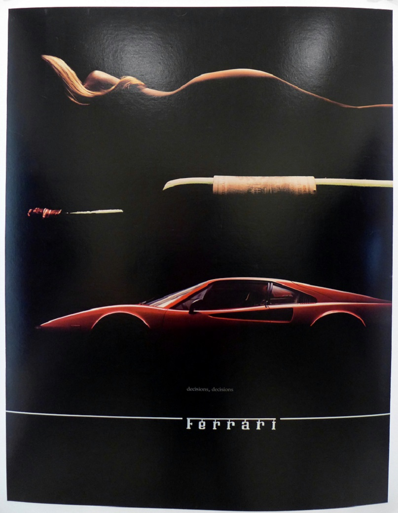 Decisions...Decisions Ferrari original vintage auto advertising poster