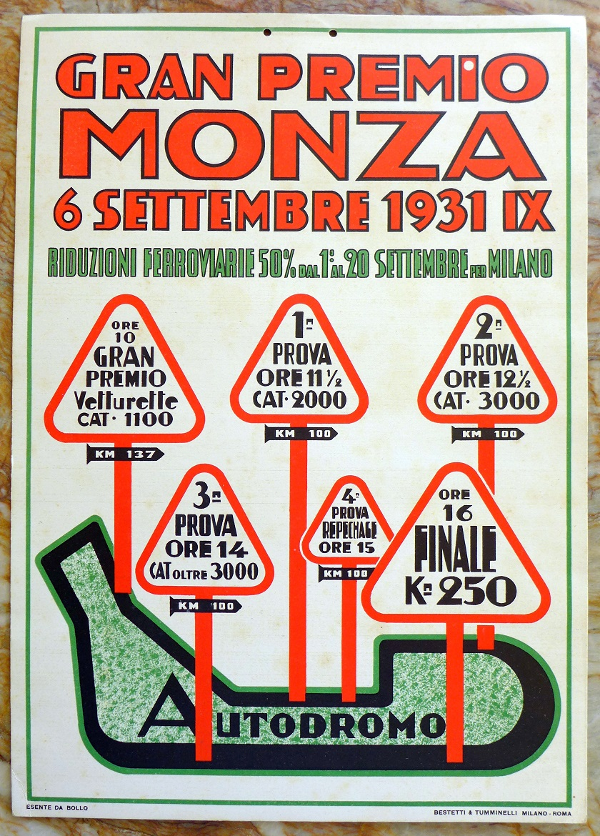 1931 Gran Premio Monza original vintage auto race event window card
