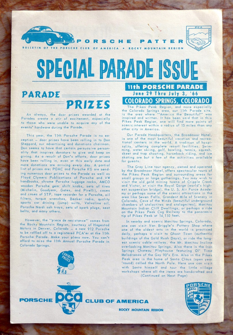 Porsche Parade 1966 Colorado Springs program information