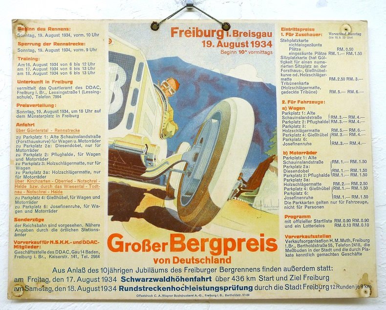 Grosser Bergpreis von Deutschland Freiburg 1934 original vintage race event window card