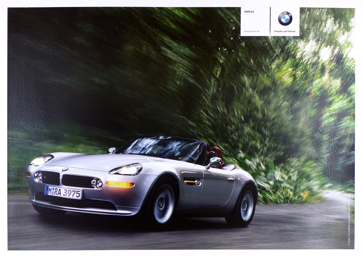 BMW Z8 original vintage auto advertising intro poster