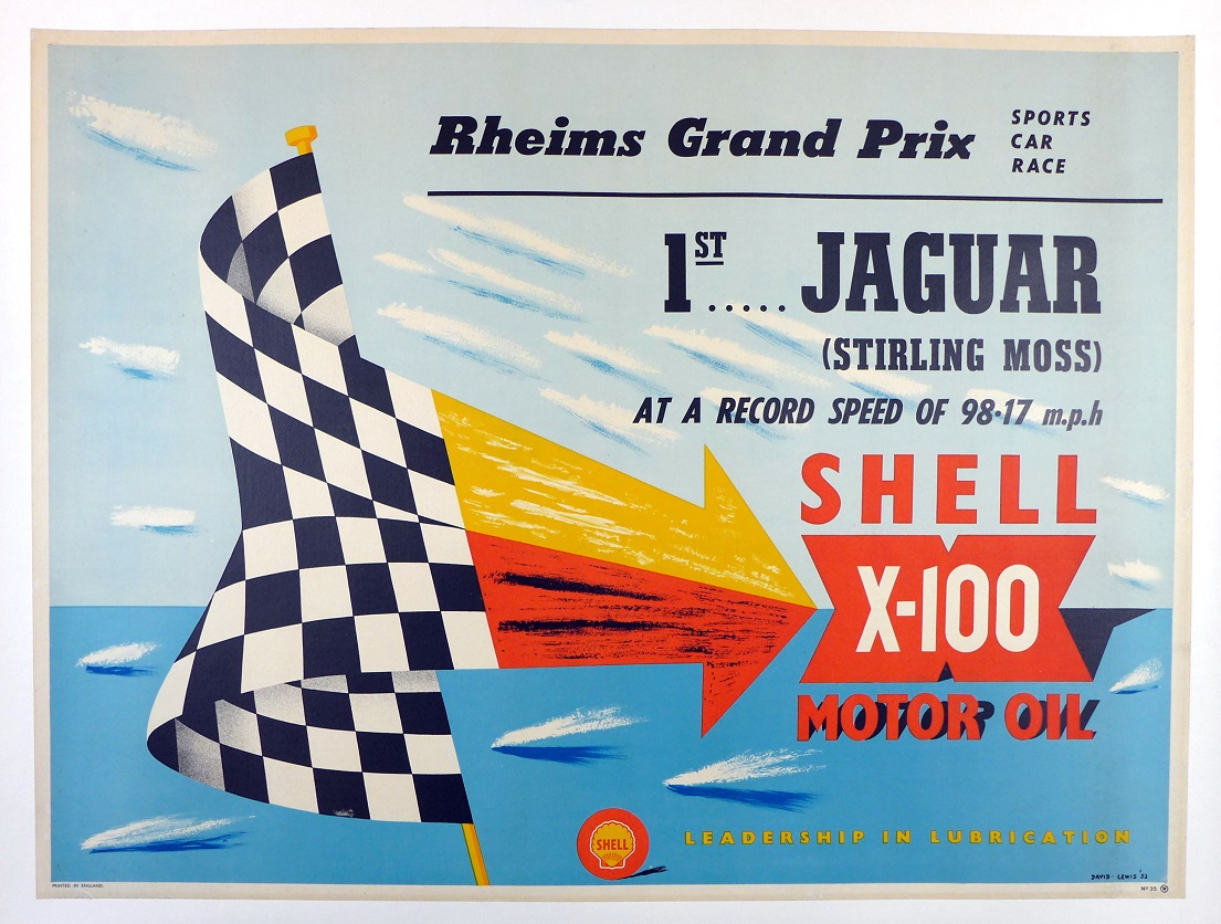 1952 Reims Grand Prix Sports Cars original vintage race commemorative poster Stirling Moss winner Jaguar C Type