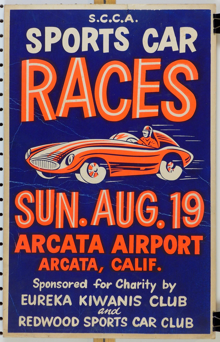 1956 Arcata SCCA sports car races original vintage advertising poster