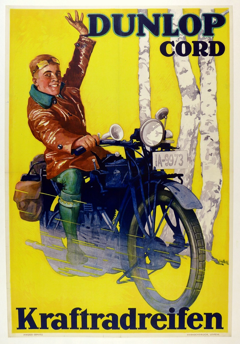 Dunlop Cord original vintage motorcycle advertising poster