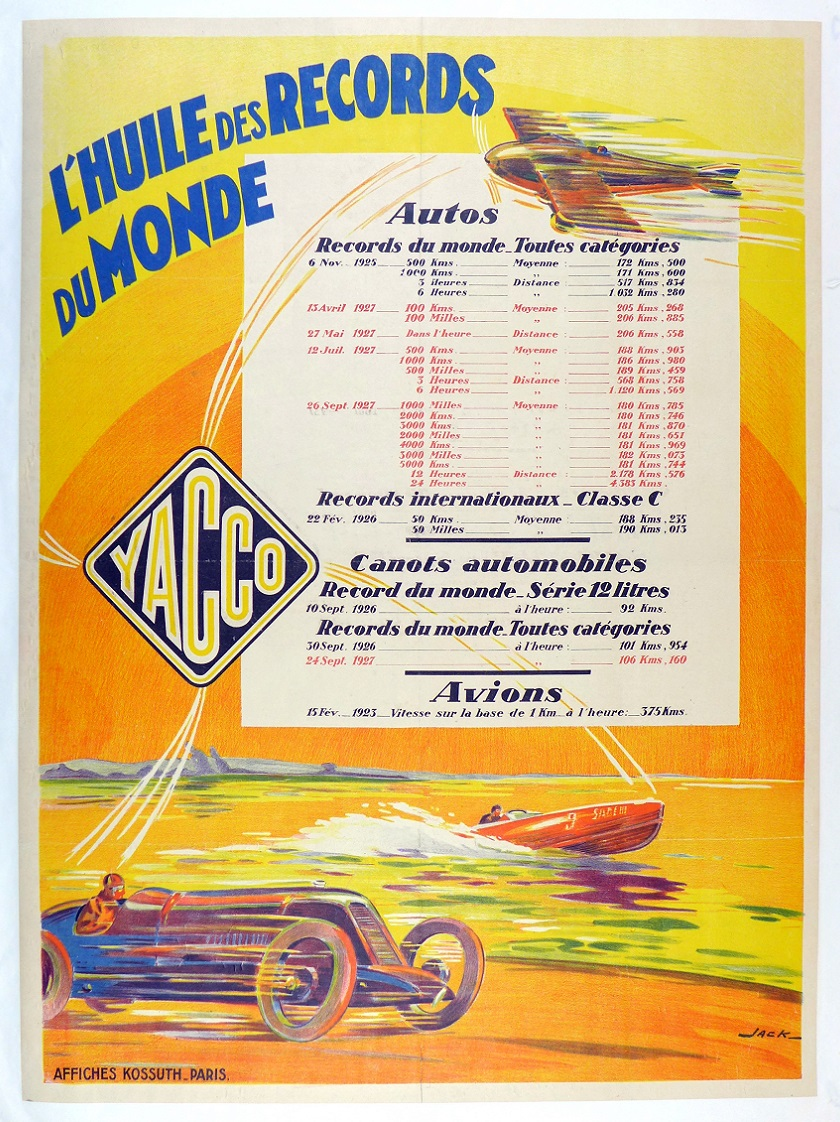 Yacco oil original vintage 1927 world speed record poster