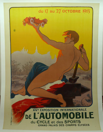 14th Exposition Automobile, Grand Palais, Paris, 1913, with art by Rene Pean; original vintage event poster