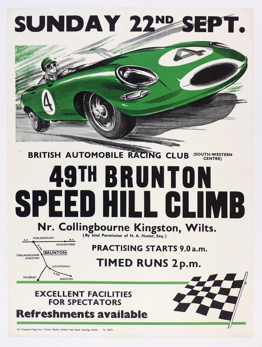 Brunton Hill Climb original vintage race event poster Jaguar XKE