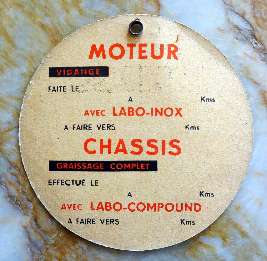 Labo oil change engine reminder card original vintage