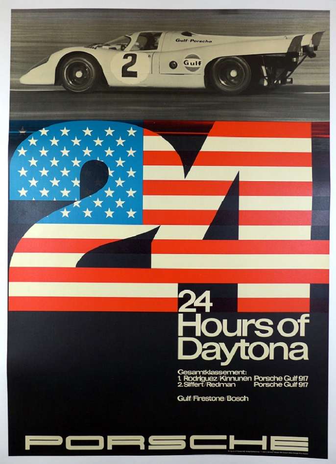 24 Hours Daytona original vintage Porsche commemorative race event poster 917
