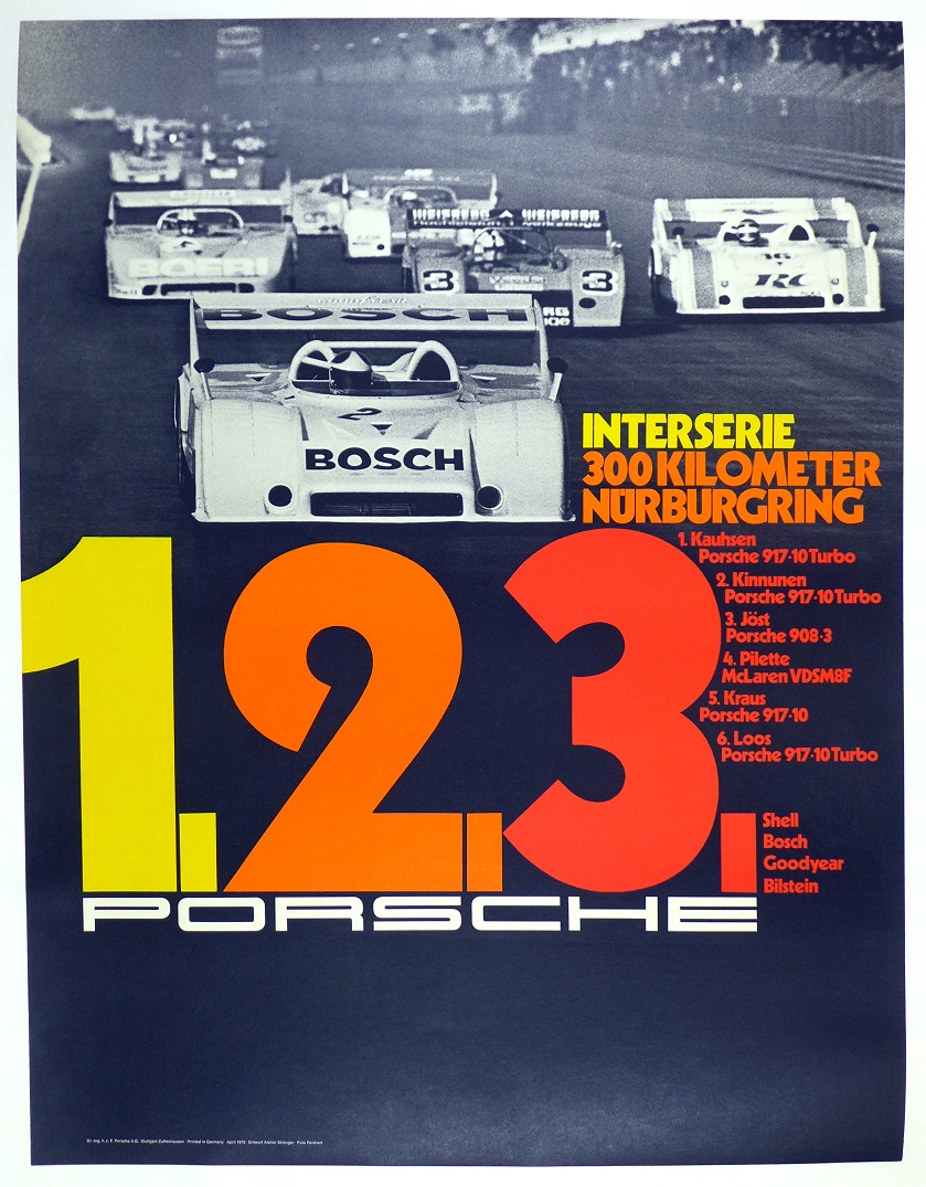 Interserie Nurburgring 1973 original vintage Porsche Factory auto race commemorative poster