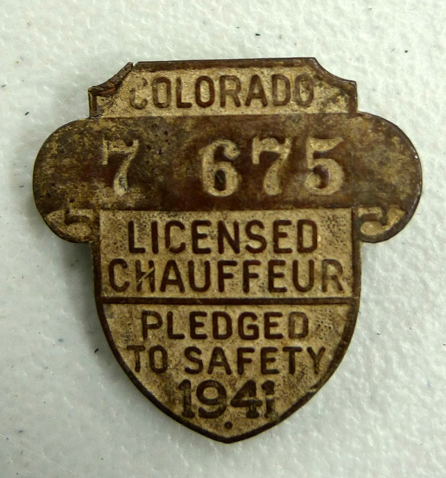 Colorado licensed chauffeur 1941 original vintage auto pin