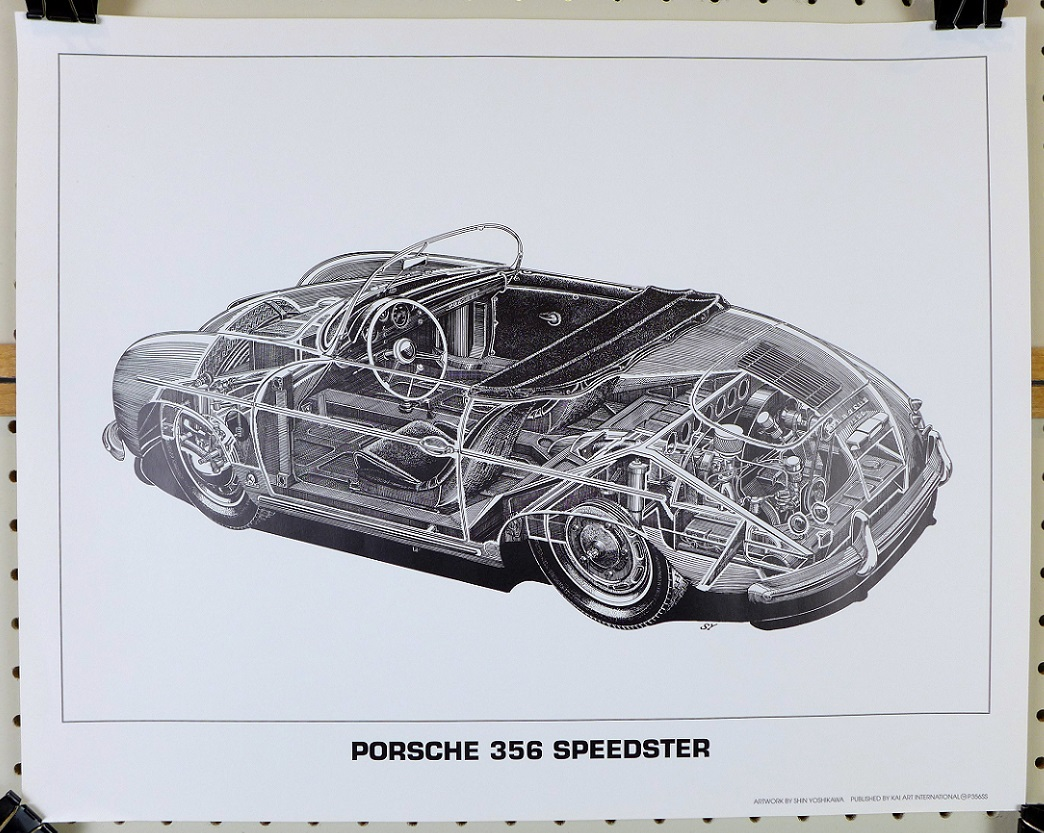 Porsche 356 Speedster cut-a-way drawing Shin Yoshikawa