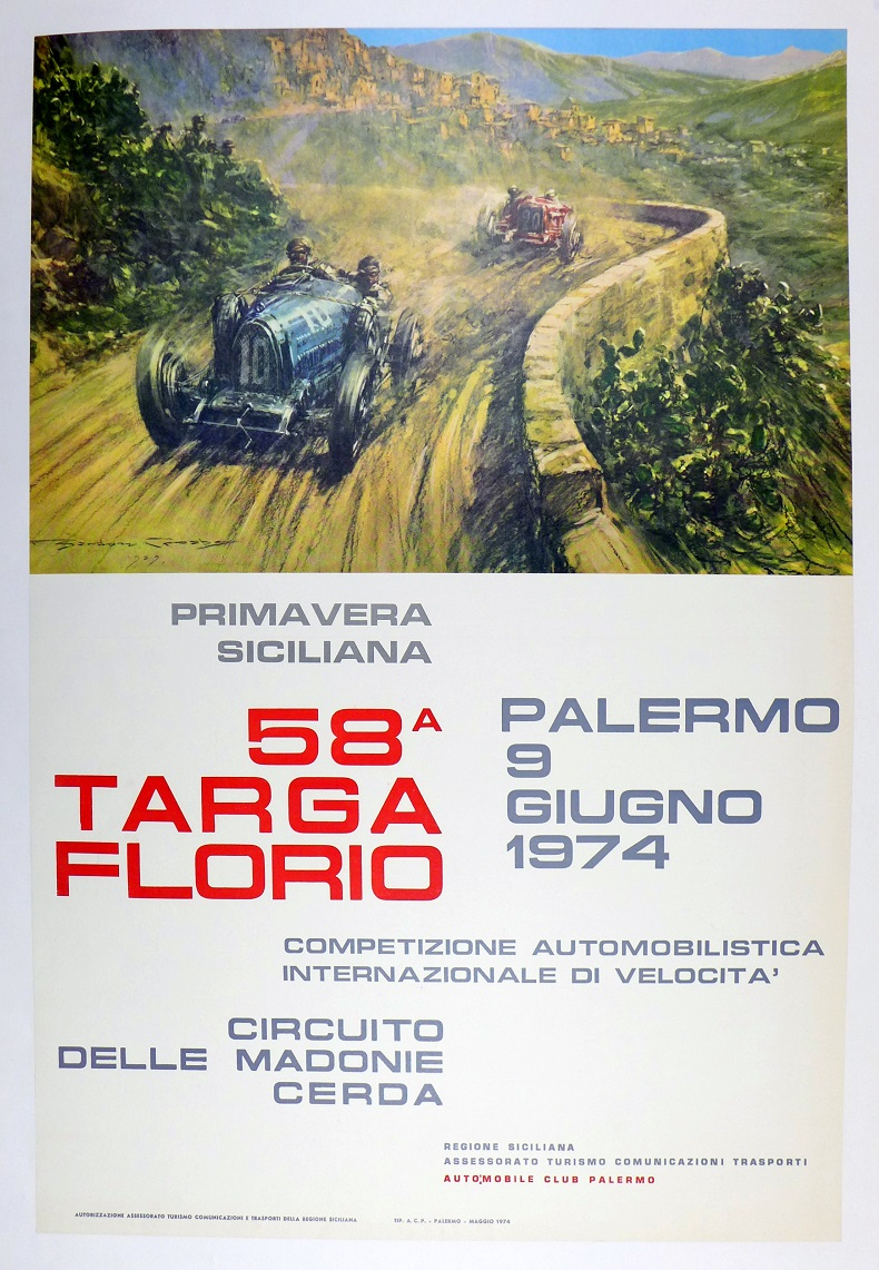 Targa Florio, 1974, original race event poster; art by Gordon Crosby