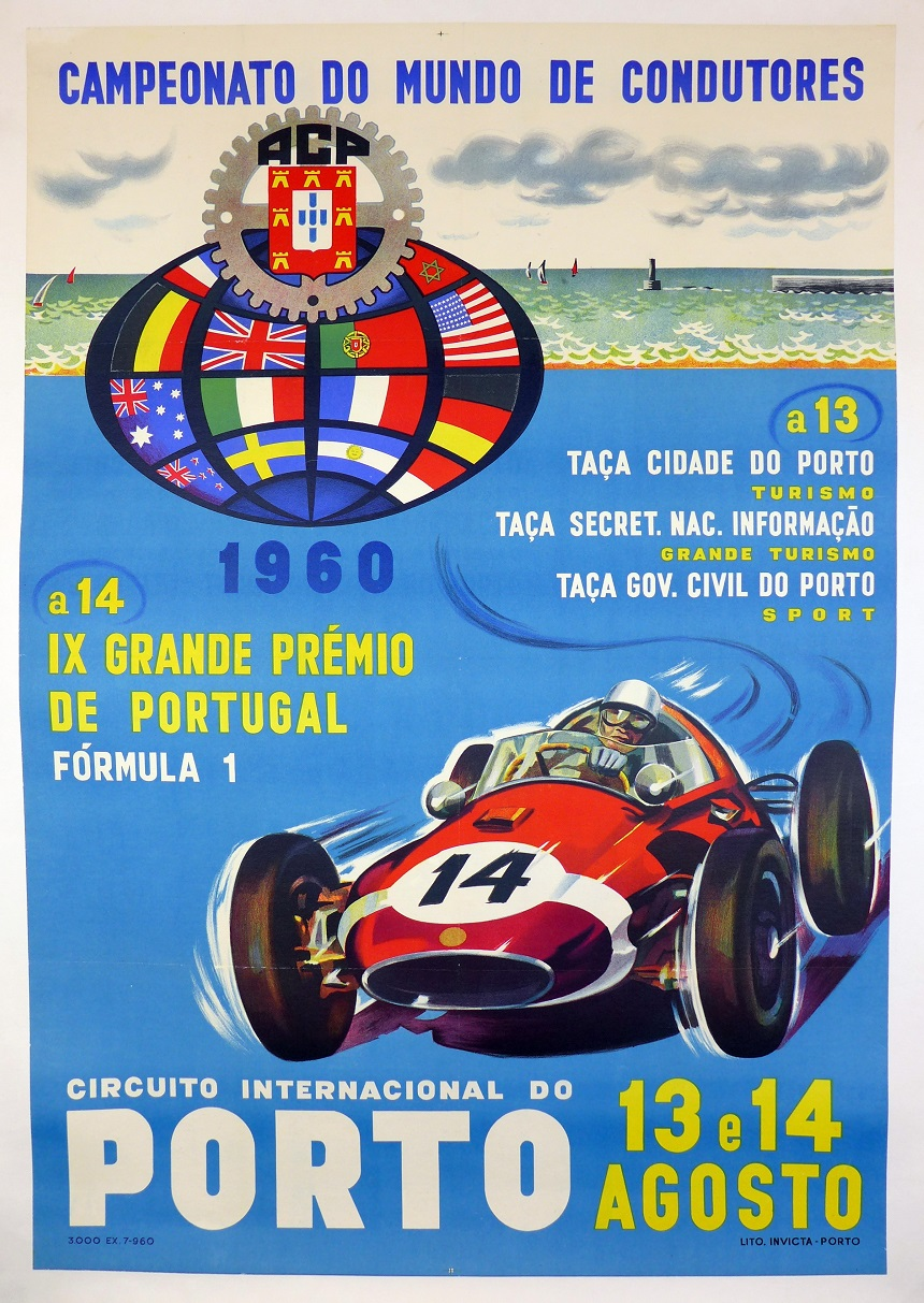 Porto 1960 original vintage Grand Prix race event poster