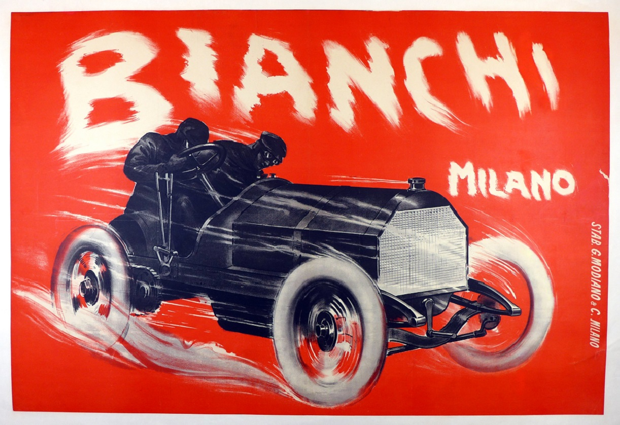Bianchi, Milano 1908, original vintage auto advertising poster