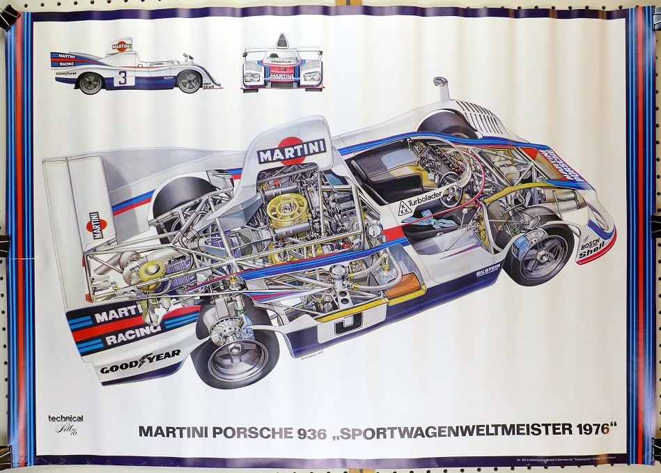 936 Porsche world champion cut-a-way art poster