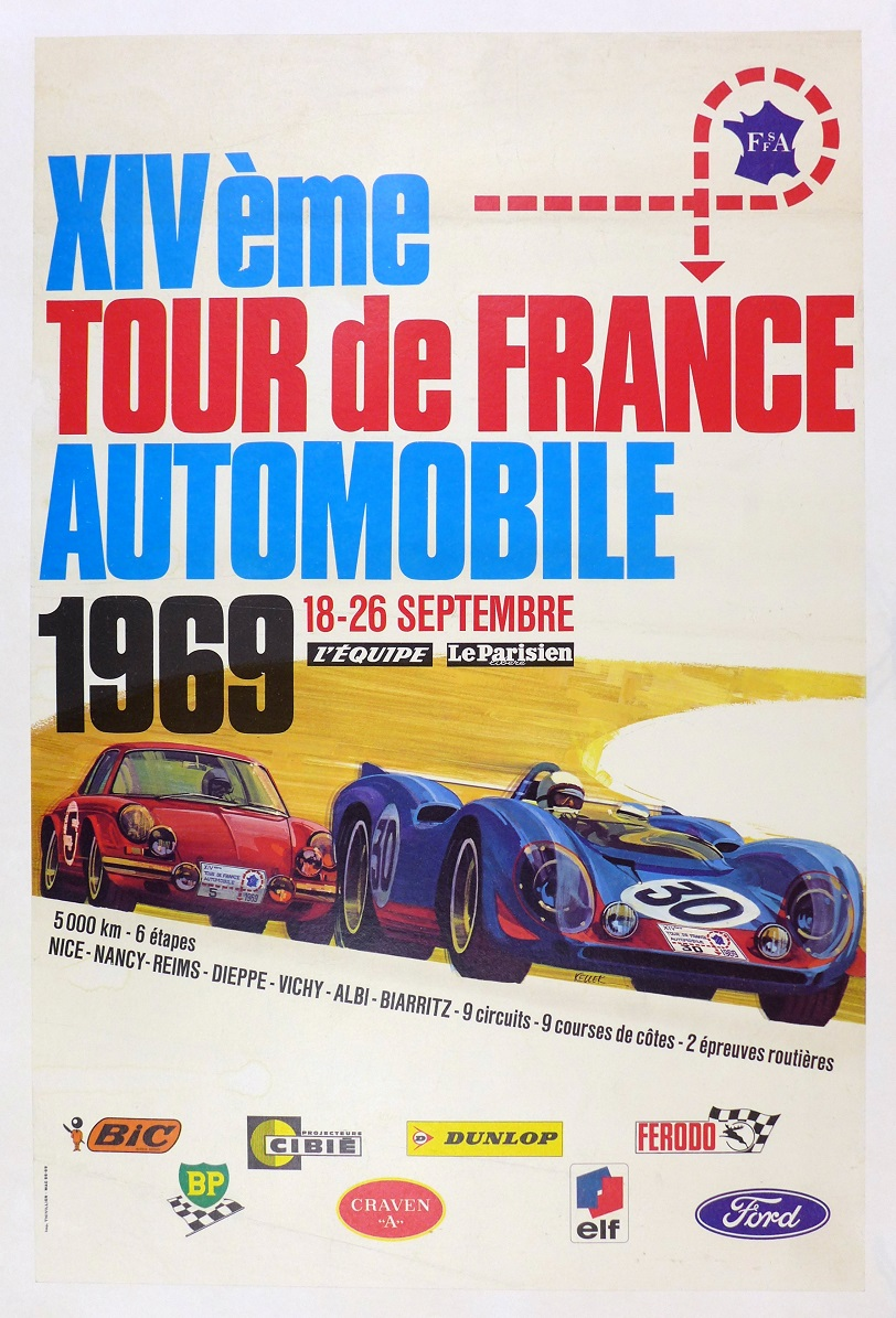1969 Tour de France original vintage auto race event poster Porsche 911