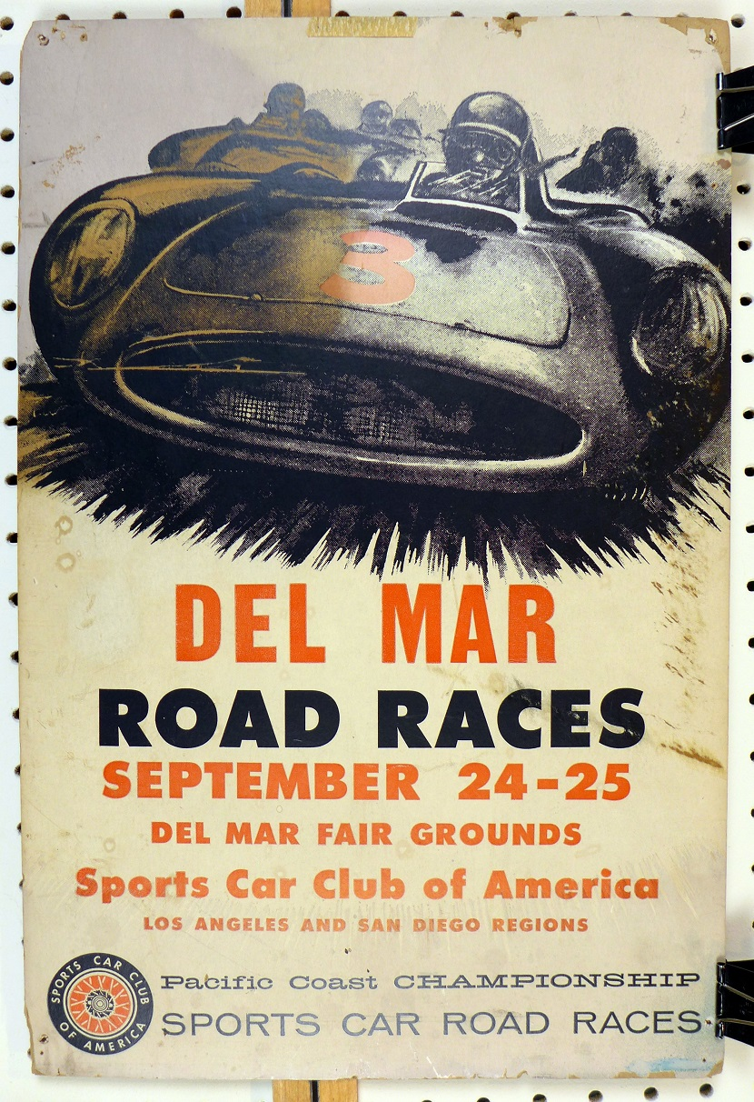1960 Del Mar Road Races original vintage event poster