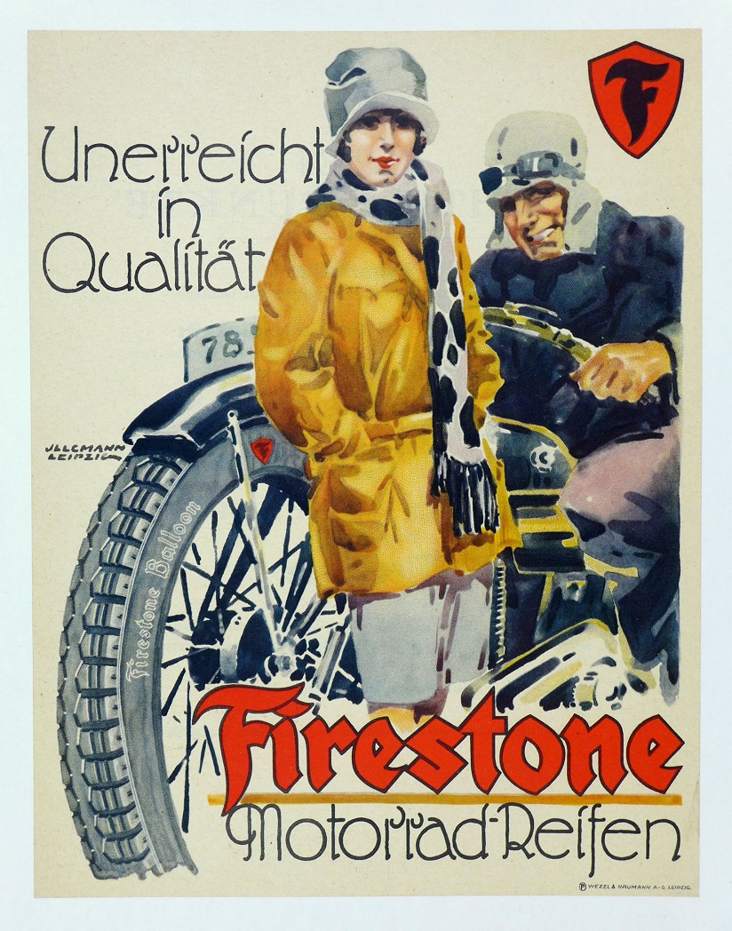 Firestone original vintage motorcycle tire advertising poster