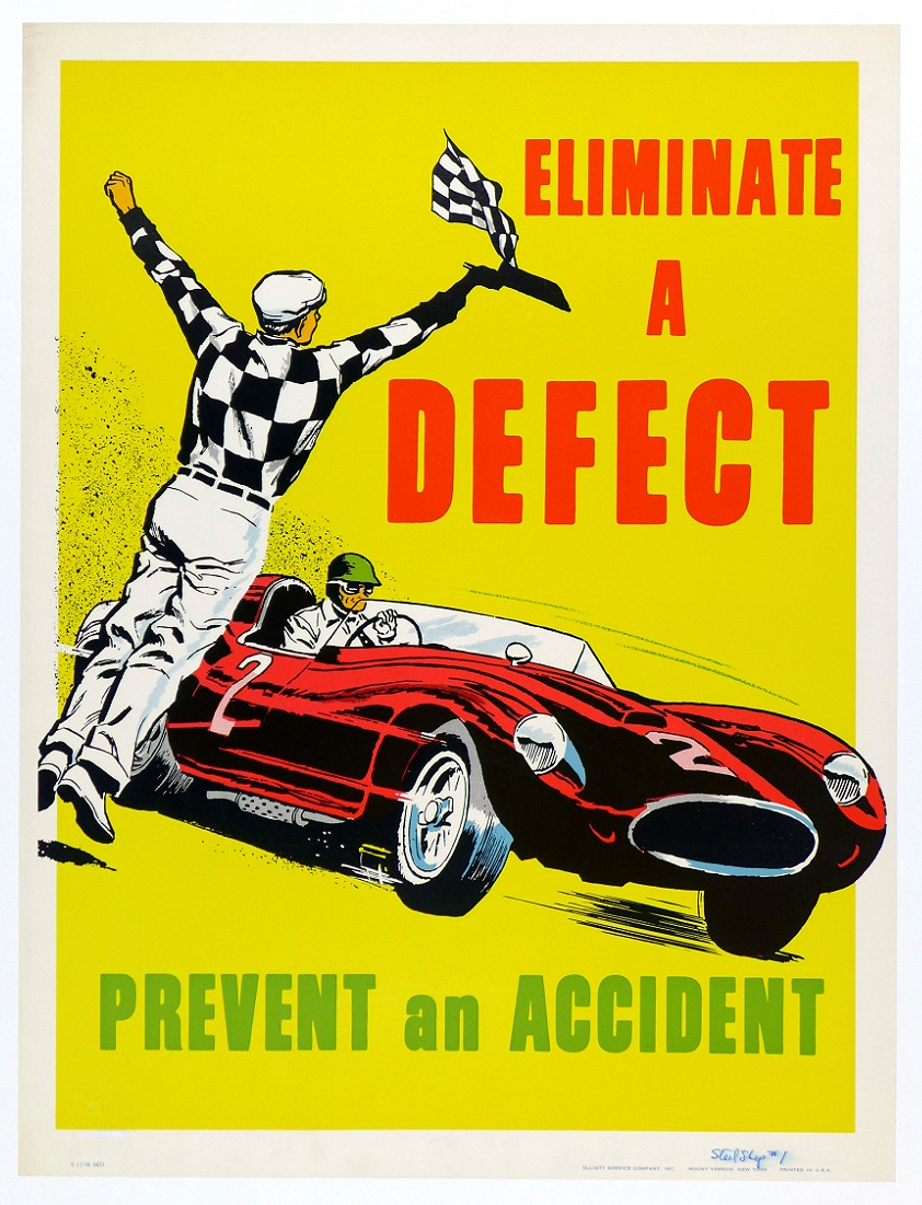 Eliminate a defect...prevent an accident 1950's incentive original vintage poster
