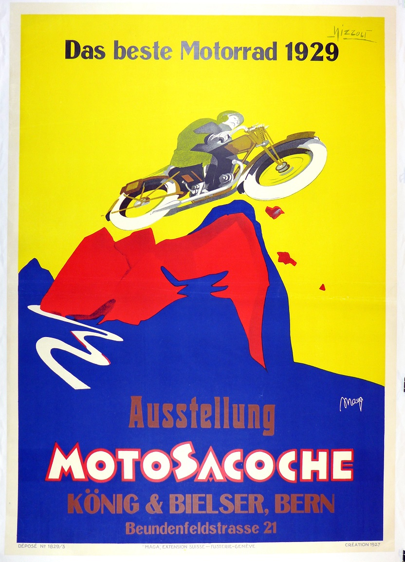 Moto Sacoche, 1929, original vintage motorcycle advertising poster