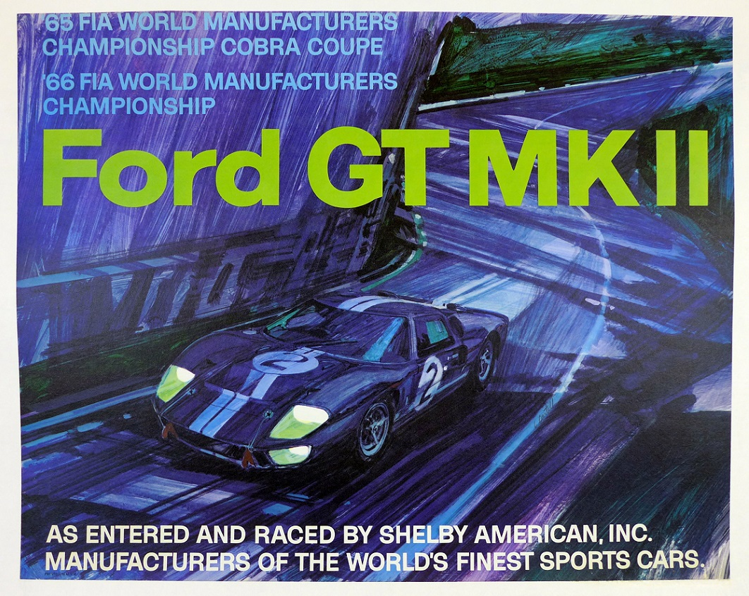 Ford GT 40 Mk II original vintage auto racing commemorative poster