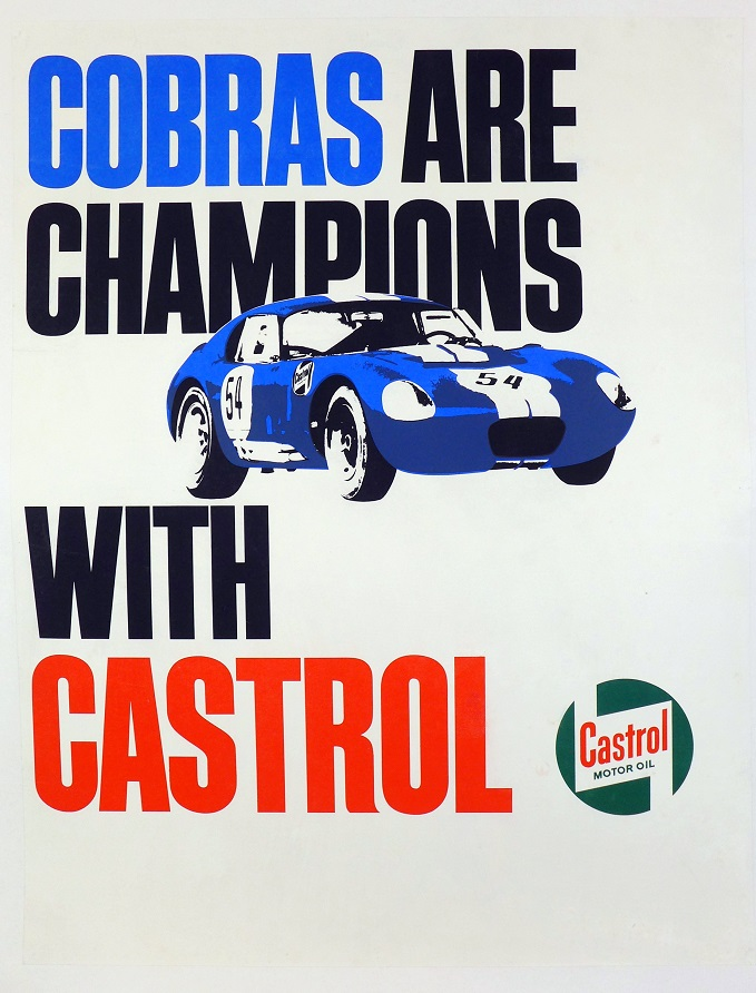 Cobra are Champions with Castrol original vintage advertising race poster