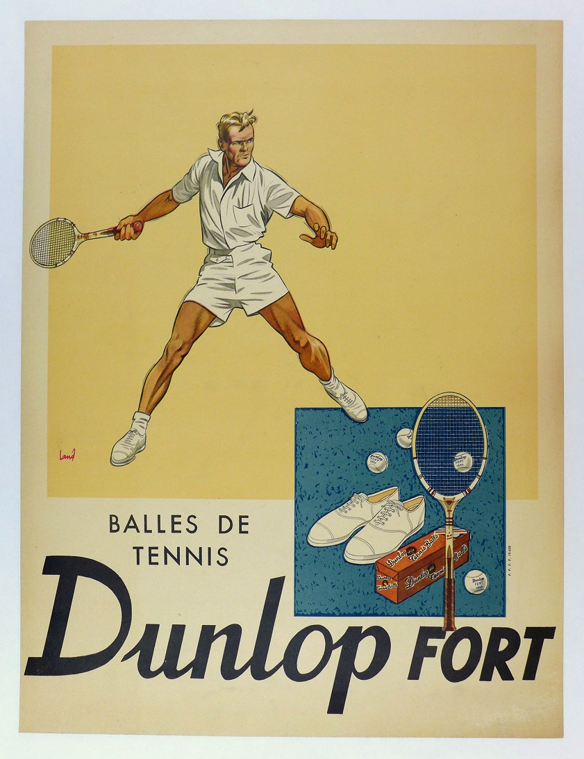 Balles de Tennis Dunlop Fort original vintage advertising poster