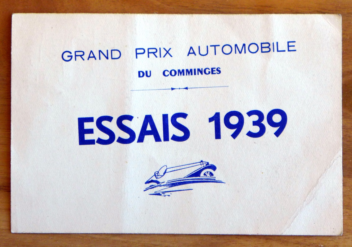 Grand Prix du Comminges 1939 original vintage racing track pass