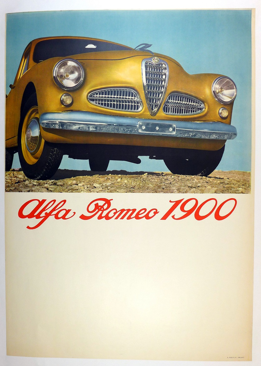 Alfa Romeo 1900 original vintage auto advertising poster