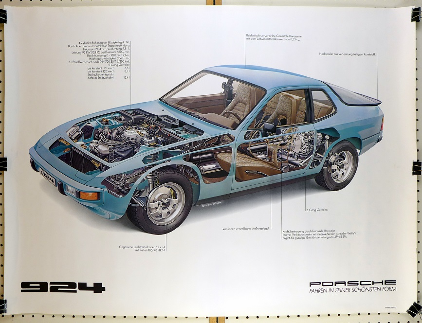 924 cut-a-way original vintage Porsche Factory showroom poster