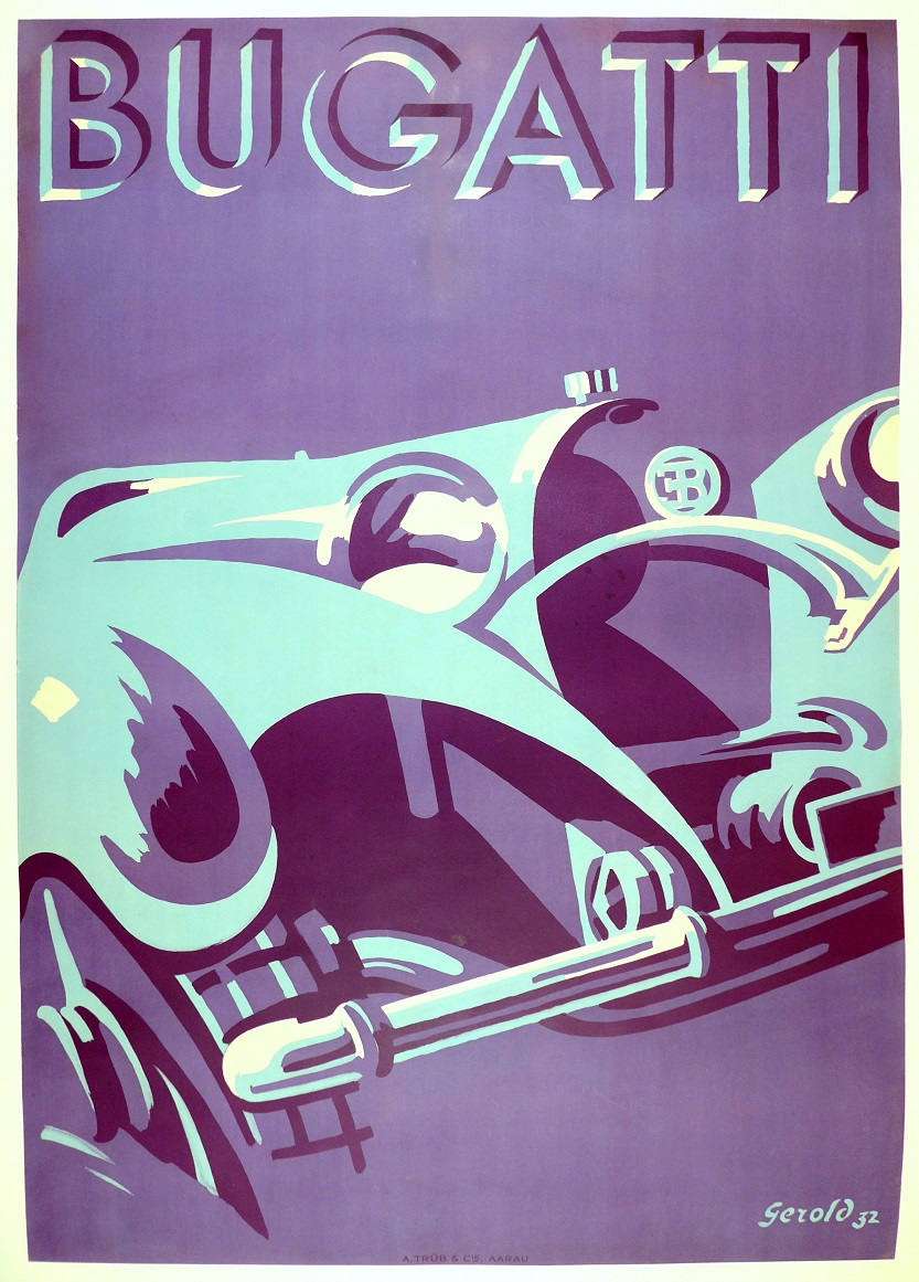 Bugatti original vintage advertising poster 1932 Gerold