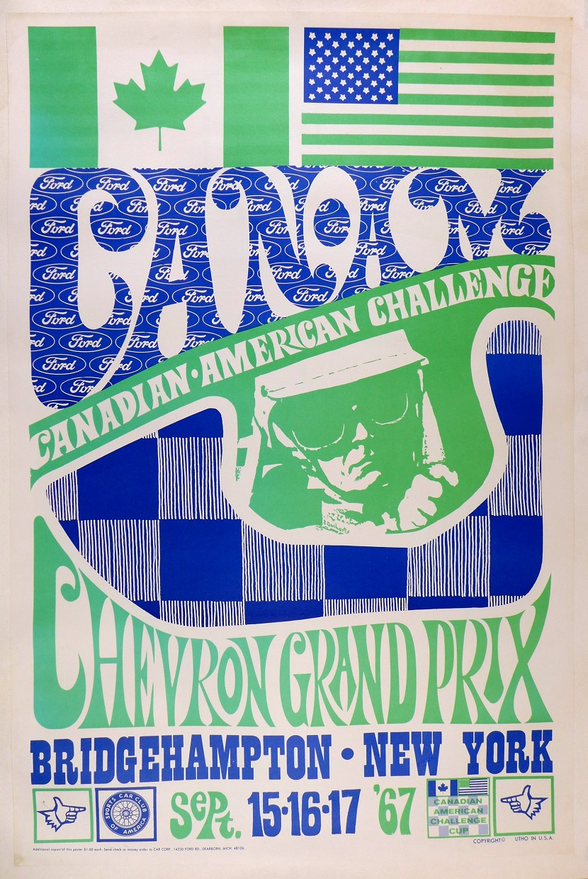 1967 Bridgehampton CanAm original vintage auto race event poster