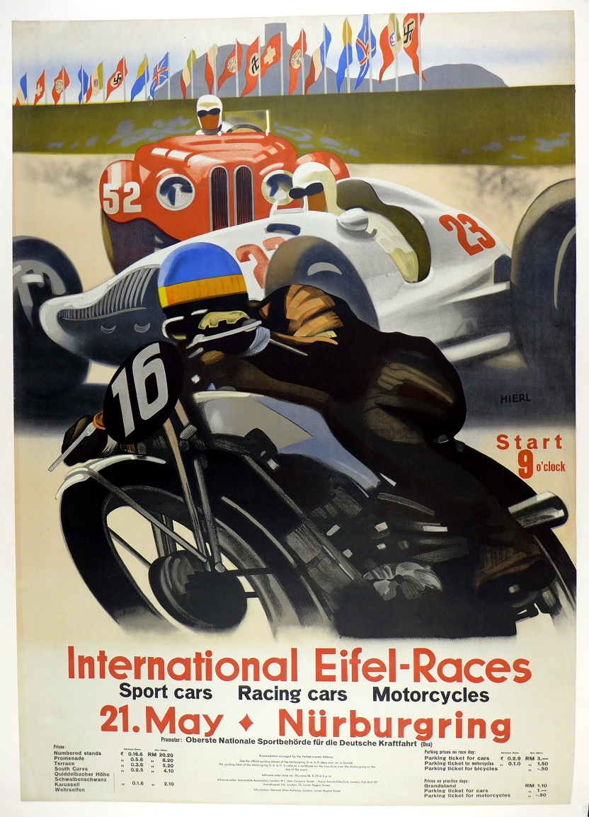 International Eifelrennen original vintage auto race event poster Hierl